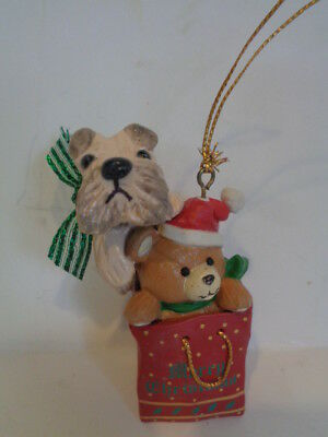 New***wheaten Terrier Playing In A Christmas Gift Bag Christmas Ornament******