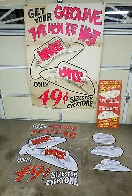 Phillips 66 Sign Banner Poster Window Display N.O.S 4 Pieces White Hat Gas 50's