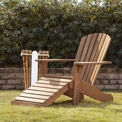 Eucalyptus Wood Adirondack Chair Built In Ottoman Brown Umber Stain Finish