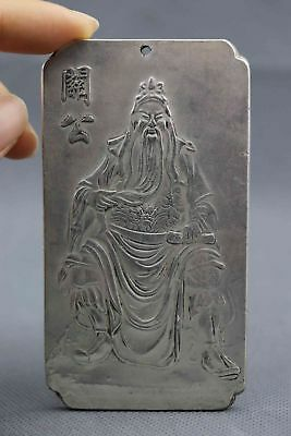 China Collectable Miao Silver Carved Guan yu Moral Exorcism Auspicious Pendant