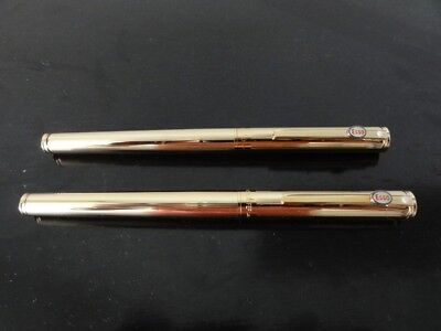 2 Sheaffer Gold Fountain Pens, Badged with Esso on the clip