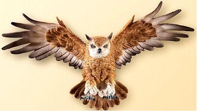 Realistic Flying Owl Wall Sculpture Bird Hanging Decor Hand Painted Wall Art New