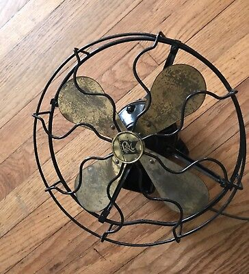 Antique Robbins and Myers Electric Fan- Train/Phone Booth-Brass Blades-Rare