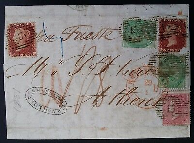 """VERY RARE 1861 Great Britain Folded Letter ties 5 QV stamps w """"Weiter Franco"""""""