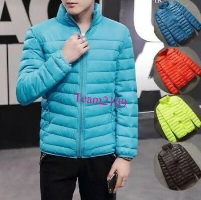 Men's Lightweight Padded Puffer Coat Bubble Down Quilted Jacket Zip Parka Winter