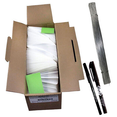 """1000 Pc Box Blank White Tyvek Tags 4 3/4"""" x 2 3/8"""" Inventory Auto Parts Labels"""