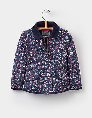 Joules Girls Newdale Quilted Jacket 1-6 Years in Navy Winter Ditsy Floral Print