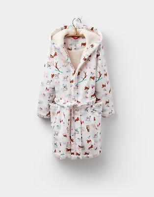 JOULES NUTKIN Girls Hooded Hand Drawn Dressing Gown in Sky Blue ...