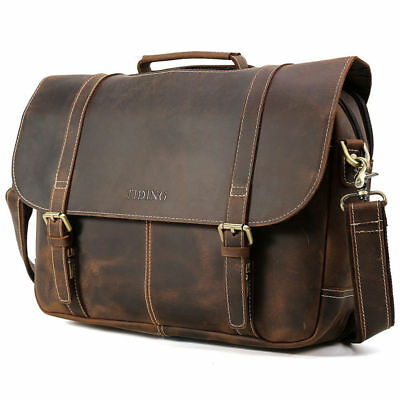 "Vintage Leather Men 16"" Laptop Briefcase Shoulder Messenger Bag Satchel Luggage"