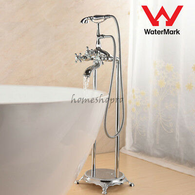 Deluxe Bathroom Floor Mounted Free Standing Bath Tub Filling Mixer Tap Faucet