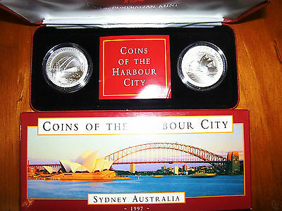 """1997 $10 Silver Two Coin Set: """"Coins of the Harbour City."""""""