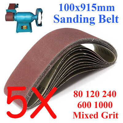 5PCS 100x915mm 914 Sanding Belt 80 120 240 600 1000 Mixed Grit For Wood Grinding