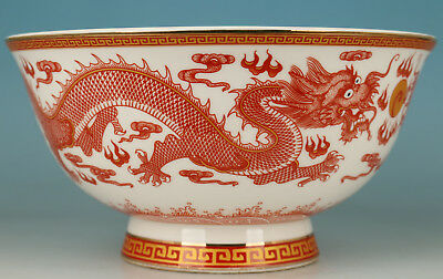 Big Chinese Porcelain Collection Hand Painting Dragon Bowl