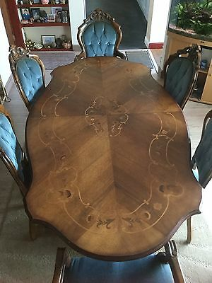 Italian Style Mahogany Dining Room Table and 6 Chairs (Used)