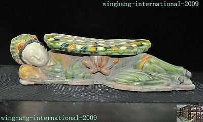 Antique old Chinese tang sancai Glazed Pottery dynasty Belle girl statue pillow