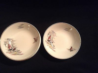 Staffordshire England Sea Breeze Bowls x 4 Warranted 22KT Gold Decoration