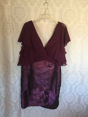 Mother of the bride, purple layered bottom dress, chiffon fluted top and sleeves