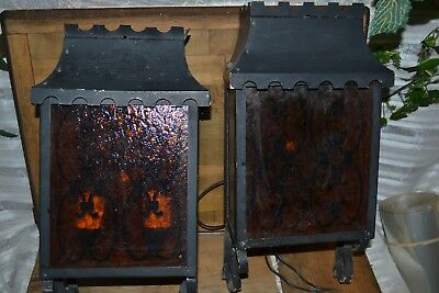 Vintage Gothic pair Metal outdoor porch lights architectural salvage Amber Glass