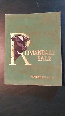 Romandale Farms Holstein Dairy Cattle Sale Catalog 1988 Canada - Stephen B Roman