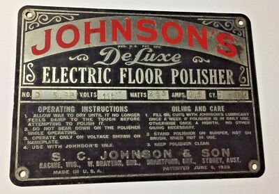 Vintage 1926 Johnson's Deluxe Electric Floor Polisher Sign Industrial