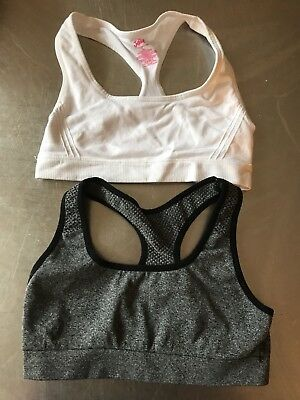 Lot Of 2/preowned, Girls Sports Bras/justice Brand/white/gray Size 30