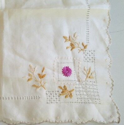 Antique Art Nouveau Society Silk Handkerchief / Hanky - Drawnwork Leaves & Flowe