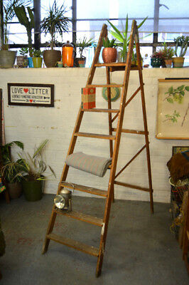 Vintage Mid Century Wooden Folding Ladder Display