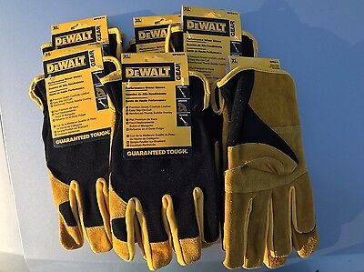 6 Pack, DeWalt DPG216 Work Gloves Leather Hybrid Driver LARGE (Free Shipping!)