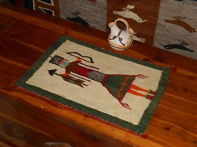 Cool Early NAVAJO NAVAHO Indian Mini Rug/Weaving...Yei with Bow & Arrow...ExCond