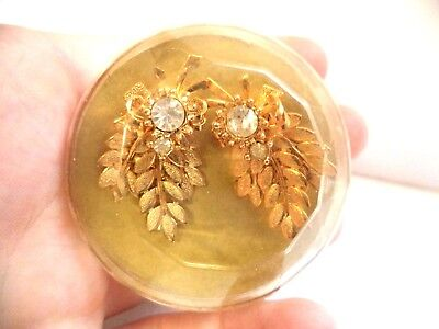"Stunning Vintage Estate Signed Sarah Cov 1960 Org Box 1 1/2"" Earrings!!!! 7963U"