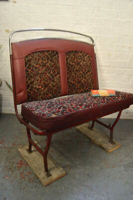Vintage Industrial Mid Century Red Bus Seat Chair Sofa Lounge