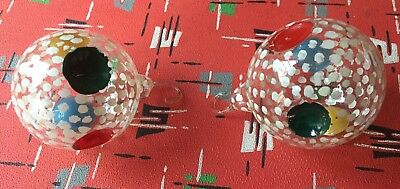 Pair Of Vintage Hand Blown Glass Christmas Tree Baubles
