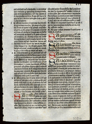 1492 Incunable Leaf Summa Angelica Civil & Canon Law 6 Handcolored Letters