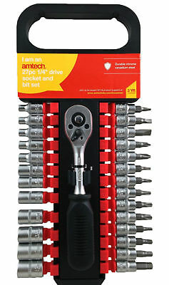 "27 Piece 1/4"" Drive Socket And Bit Set Metric Torx Hex Slotted Phillips Ratchet"