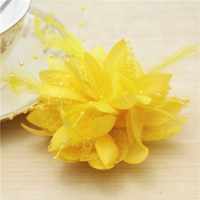 Yellow Flower Feather Bead Corsage Hair Clips Fascinator Hairband Pin brooch