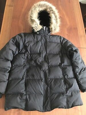 Black Down Maternity Coat Old Navy - Fleece Lined, Removable Hood - Size L