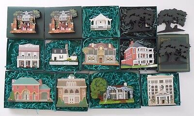 Shelia's Collectibles Gone With The Wind Lot of 14 Wooden Houses & Silhouettes
