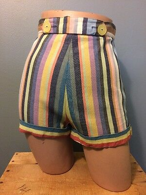 Vtg Ladies Cotton Shorts 50s 60s Pin Up Rockabilly VLV Pool Beach Womens 13-14