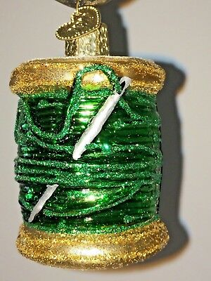 Figural NEEDLE & THREAD Sewing OLD WORLD CHRISTMAS Glass Ornament QUILTING Green