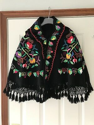 Vintage Mexican Cape Embroidered COLORFUL Black Wool Floral FANTASTIC Shawl