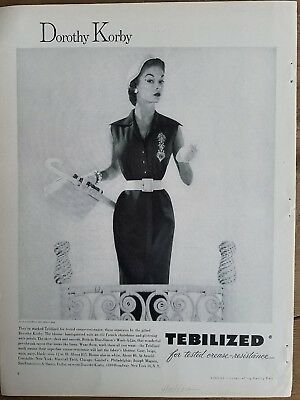 1953 Dorothy Korby women's dress fashion Tebilized Jean Patchett ad