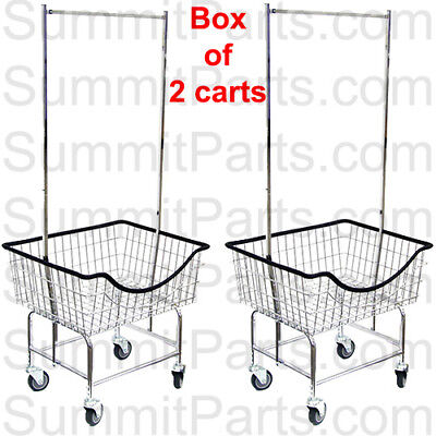 2Pk - The Laundrocart Commercial Wire Laundry Cart Basket With Chrome Hanger