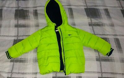 blue zoo 18-24 months boys coat navy green dinosaur logo fleece lined ex con
