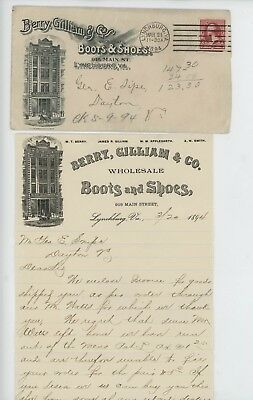 Mr Fancy Cancel Berry Gilliam & Co Boots Shoes Lynchburg VA 1894 Cvr #3692