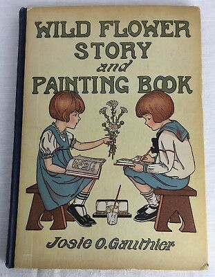 Rare Antique Children's Book Wild Flower Story and Painting Book Illus Gauthier