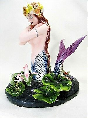 Mermaid w/ Koi and Lilly Pads Mythical Fantasy Decor Figurine