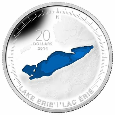 2014 Canada $20 Lake Erie 1 oz Pure Silver Enameled Great Lakes Series