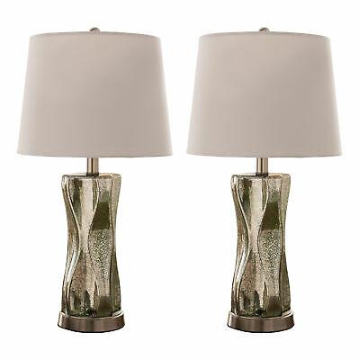 Kings Brand Silver Green Glass With Fabric Shade Table Lamps, Set of 2