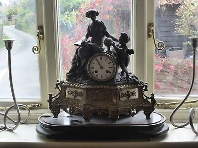 French 19th century spelter, gilt and alabaster clock