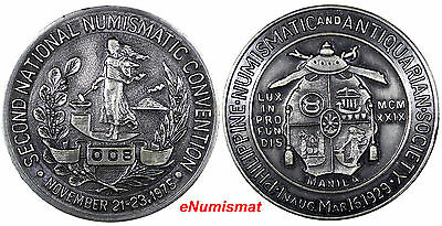 """Philippines 2nd National Numismatic Convention Silvered-Copper Medal Low # """"008"""""""